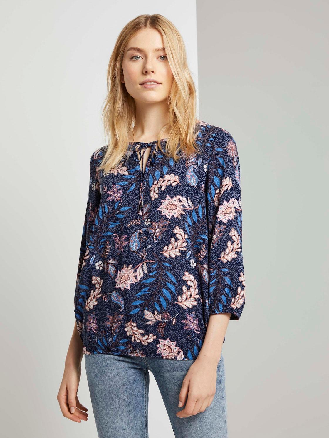Tom Tailor Bloemenprint Blouse, navy floral design