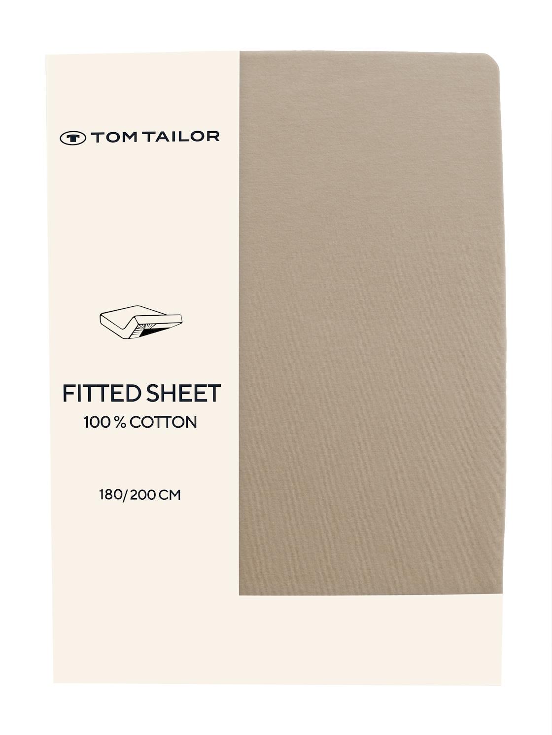 TOM TAILOR Unisex Spannbettlaken aus Jersey, sand, unifarben, Gr 180/200
