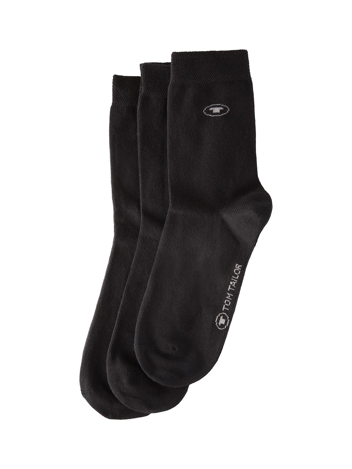 TOM TAILOR Socken im Dreierpack,  black, Größe: 23 26