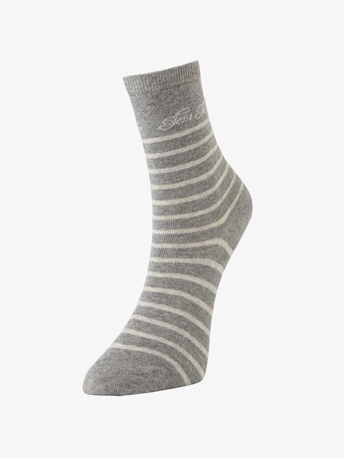 Tom Tailor Casual 2er Pack Socken mit Logo Schrift, Damen, light grey melange, Größe: 35 38