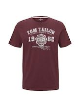 TOM TAILOR Herren T-Shirt mit Logo-Print, lila, Gr.XL