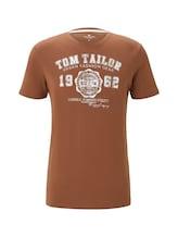 TOM TAILOR Herren T-Shirt mit Logo-Print, braun, Gr.XXXL