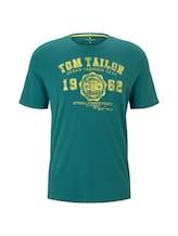 TOM TAILOR Herren T-Shirt mit Logo-Print, grün, unifarben mit Print, Gr.XXL