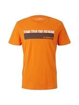 TOM TAILOR DENIM Herren T-Shirt mit Print, orange, unifarben mit Print, Gr.M