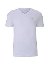 TOM TAILOR DENIM Herren T-Shirt mit dezentem Print, weiß, unifarben, Gr.XL