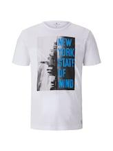 TOM TAILOR Herren T-Shirt mit NYC-Print, weiß, Gr.XXXL