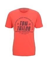 TOM TAILOR Herren T-Shirt mit Logo-Print, orange, Gr.XXL
