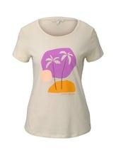TOM TAILOR DENIM Damen T-Shirt mit Print, beige, Gr.XL
