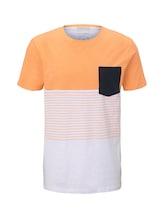 TOM TAILOR DENIM Herren T-Shirt mit Blockstreifenmuster und Brusttasche, orange, Gr.L