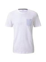 TOM TAILOR Herren T-Shirt mit Tasche auf der Brust, weiß, Gr.M