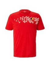 TOM TAILOR Herren T-Shirt mit Fußball-EM-Print, rot, Gr.XXL