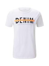 TOM TAILOR DENIM Herren T-Shirt mit Schrift-Print, weiß, Gr.XXL