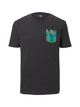 TOM TAILOR Herren T-Shirt mit gemusterter Brusttasche, grau, Gr.XL