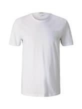 TOM TAILOR DENIM Herren T-Shirt mit Bio-Baumwolle, weiß, Gr.XXL