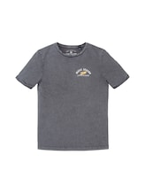 TOM TAILOR Jungen T-Shirt mit Print, grau, unifarben mit Print, Gr.176
