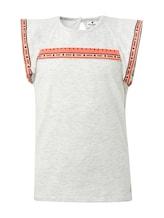 TOM TAILOR Mädchen T-Shirt mit Fashion-Tape, grau, mehrfarbig, Gr.140