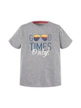TOM TAILOR Jungen T-Shirt mit großflächigem Print, grau, Gr.116/122