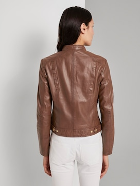 Leather jacket with a stand-up collar - 2 - TOM TAILOR