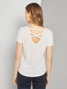 T-shirt with lacing - 2 - TOM TAILOR