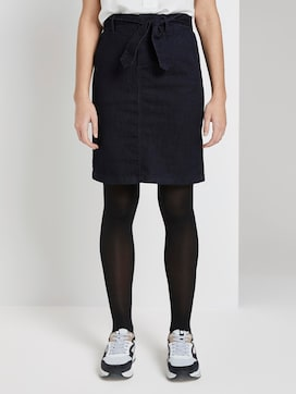 Denim skirt with tie band - 1 - TOM TAILOR