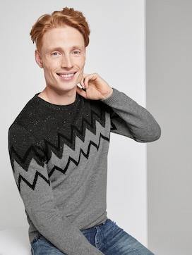 Jumper with graphic knitted pattern - 5 - TOM TAILOR Denim