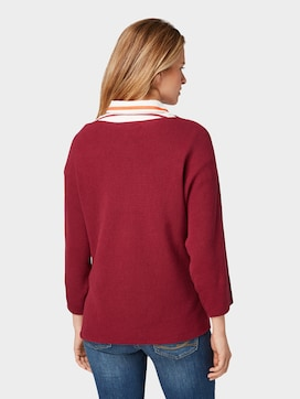 Jumper with striped structure - 2 - TOM TAILOR