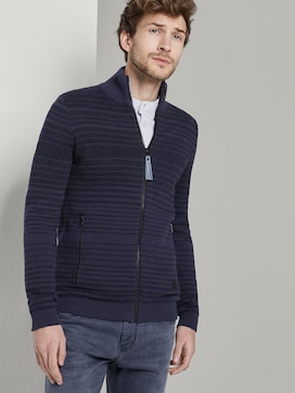 striped knitted jacket - 5 - TOM TAILOR