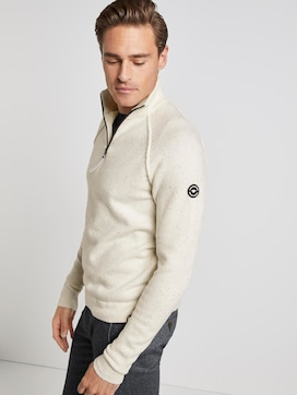 Knitted jumper with stand-up collar - 5 - TOM TAILOR