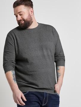 Strukturierter gestreifter Pullover - 5 - Men Plus