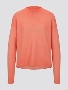 Damen strukturierter Pullover, orange