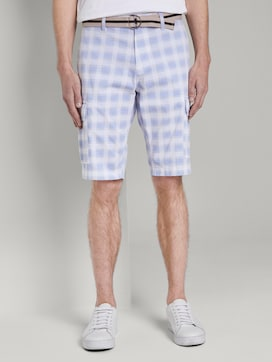 Patterned Cargo shorts with a belt - 1 - TOM TAILOR
