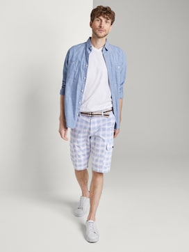 Patterned Cargo shorts with a belt - 3 - TOM TAILOR