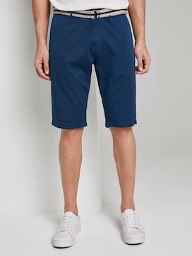 Gemusterte Josh Regular Slim Bermuda-Shorts mit Gürtel - 1 - TOM TAILOR