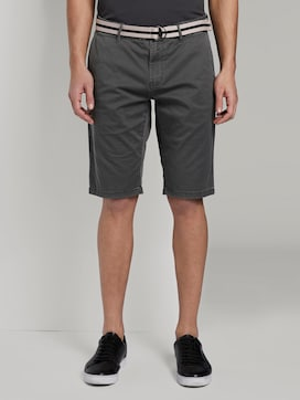 Josh patterned regular slim Bermuda shorts with a belt - 1 - TOM TAILOR