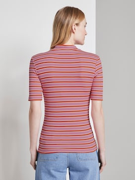 Striped T-shirt with a stand-up collar - 2 - TOM TAILOR Denim