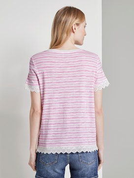 Striped T-shirt with crochet details - 2 - TOM TAILOR Denim