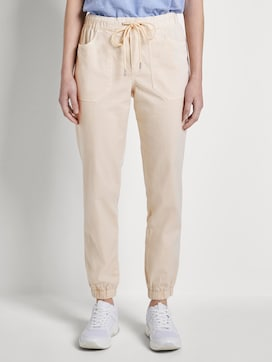 Relaxed-fit trousers with elastic leg cuffs - 1 - TOM TAILOR Denim