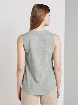 Sleeveless blouse with a Henley Neckline - 2 - TOM TAILOR Denim
