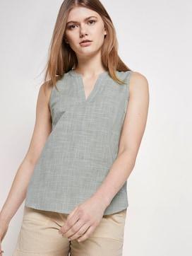 Sleeveless blouse with a Henley Neckline - 5 - TOM TAILOR Denim
