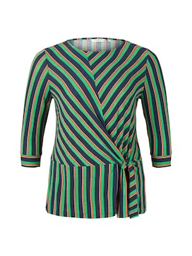 MY TRUE ME Damen Gestreiftes Shirt mit Knoten-Detail, grün