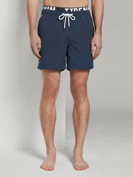 Swimming trunks with an elastic logo waistband - 1 - TOM TAILOR Denim
