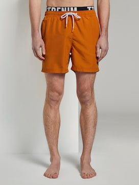Swimming trunks with an elastic logo waistband - 1 - TOM TAILOR Denim