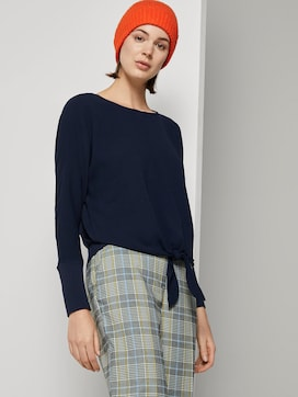 Crepe blouse with knotted details - 5 - TOM TAILOR