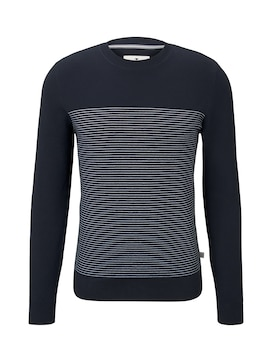 Herren Sweater im Struktur-Mix, blau, unifarben mit Print