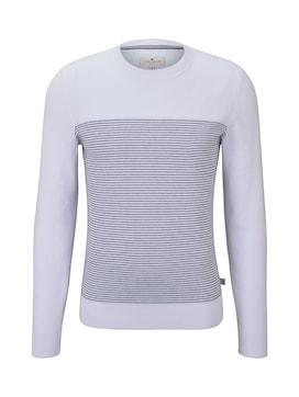 Herren Sweater im Struktur-Mix, weiß, unifarben mit Print