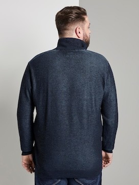 Knitted jumper with stand-up collar - 2 - Men Plus