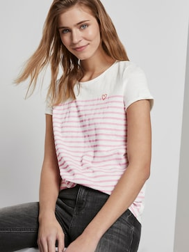 Striped T-shirt with a small embro - 5 - TOM TAILOR Denim