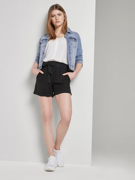 Relaxed shorts with a tie band - 3 - TOM TAILOR Denim