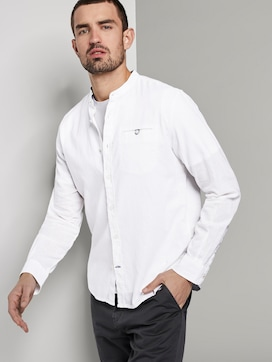 Shirt with a Mao collar made of linen blend - 5 - TOM TAILOR