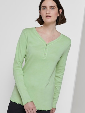 Langarm Henley-Shirt in Ripp-Optik - 5 - TOM TAILOR